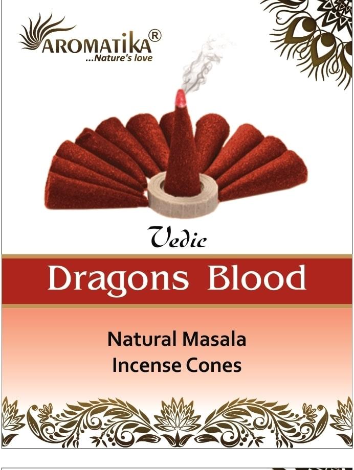 AROMATIKA CONES VEDIC MASALA DRAGONS BLOOD  (Sang des dragons) (couleurs végétales)