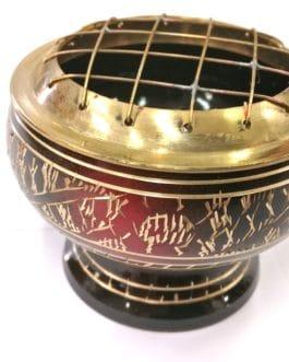 PE25 – LAITON avec grille Rouge et Noir  – Ø 7,5cm – H 6cm