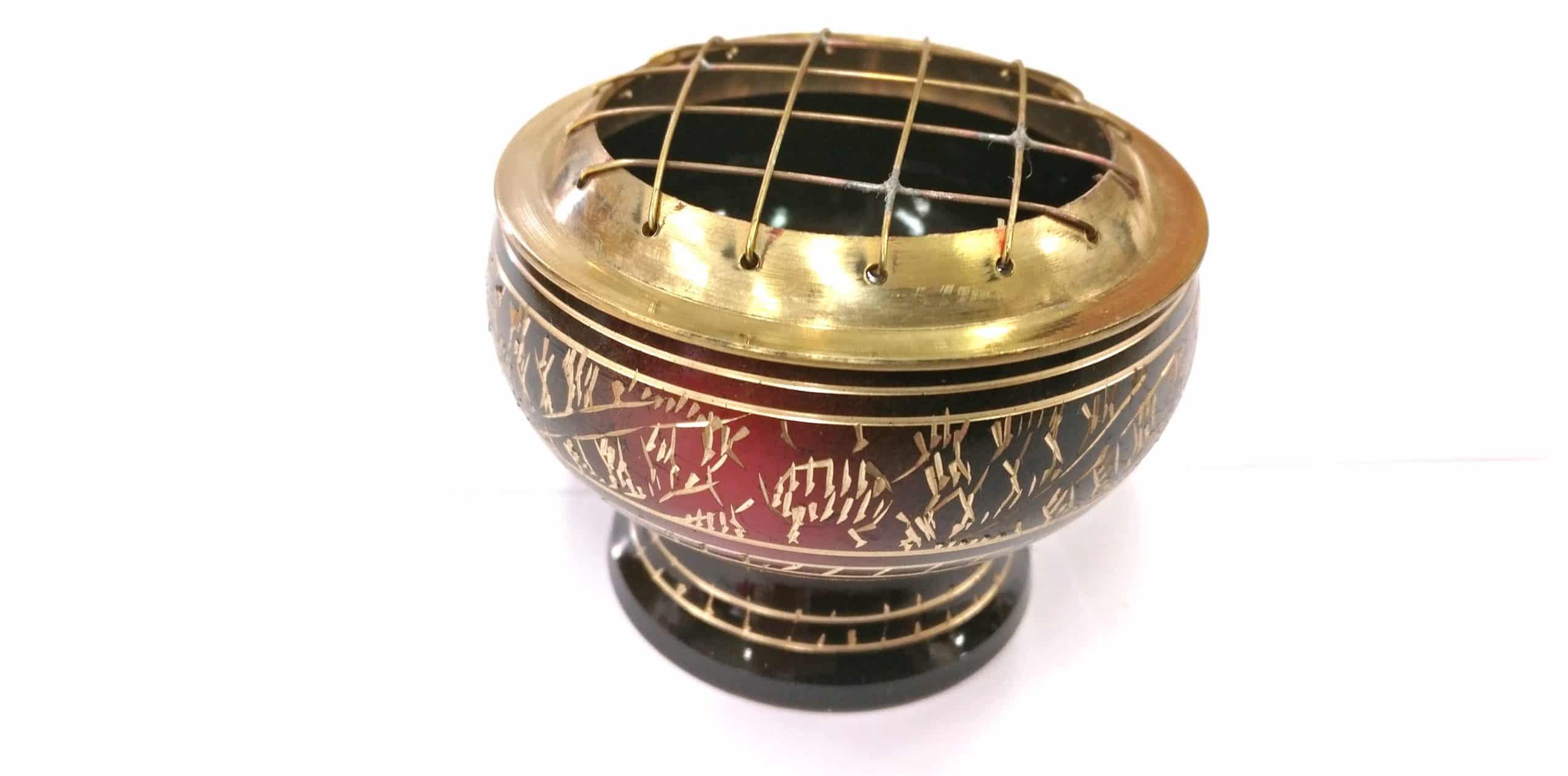 PE25 -LAITON avec grille Rouge et Noir  – Ø 7,5cm – H 6cm