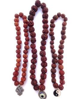 REF201D (1) – MALA tibétain de prières 33 RUDRAKSHA avec pendant