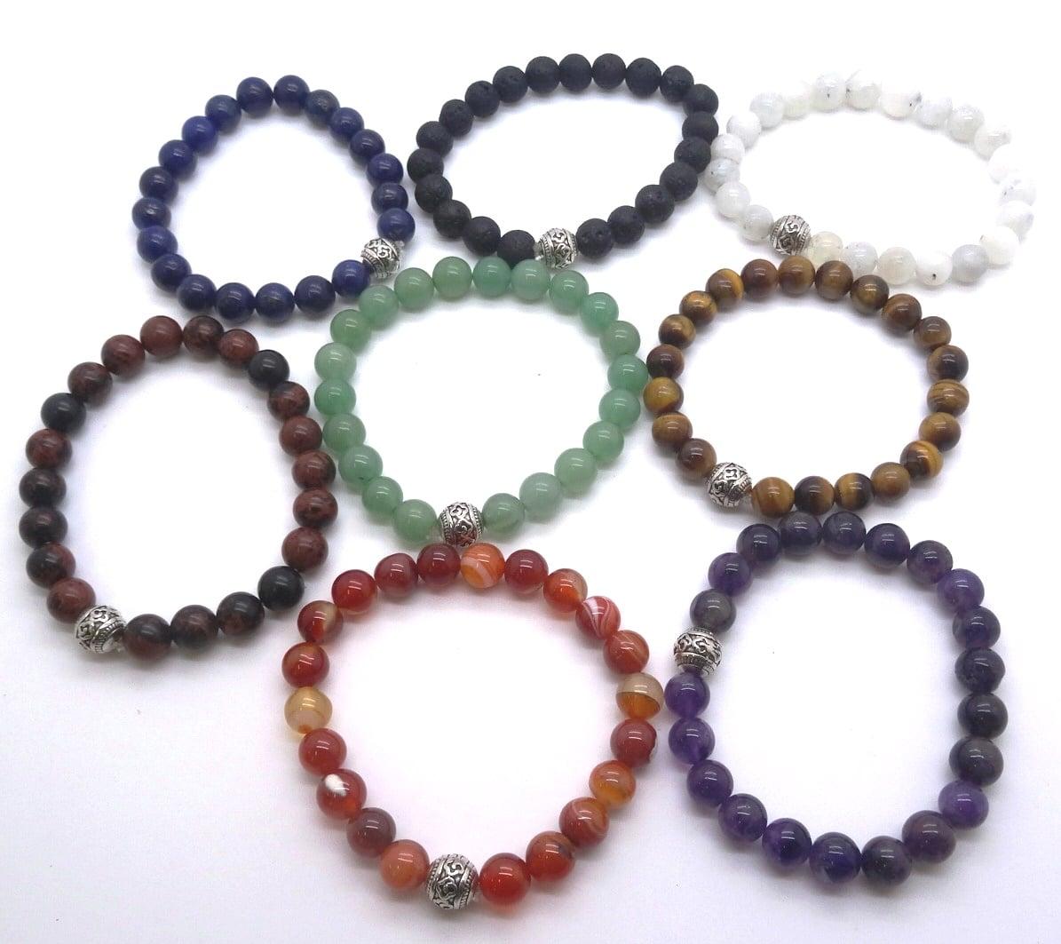 REF502A – BRACELET HOMMES avec 1 perle métal –  Perles 10mm