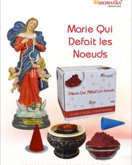 AROMATIKA POUDRE ENCENS 100g (avec kit pour cônes) MARIE QUI DEFAIT LES NOEUDS – Parfum ROSE (couleur naturelle)
