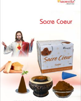AROMATIKA POUDRE ENCENS 100g (avec kit pour cônes) SACRE COEUR DE JESUS – Parfum SANTAL (couleur naturelle)