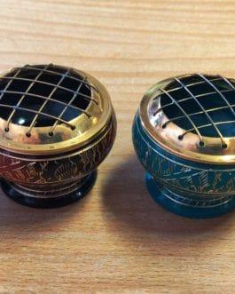 .BRB-03 – PORTE-ENCENS LAITON avec grille – Bleu, Rouge-Noir, Turquoise, Noir- Vendu par Set de 4 pièces