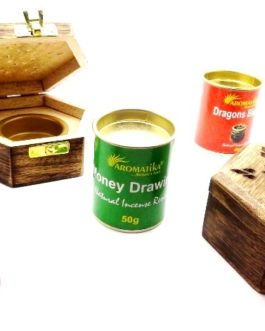 .PE27 – BOITIER BOIS avec LAITON  – Spécial encens RESINE (Bois de Manguier ou Arbre Fruitier)