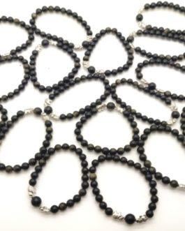 REF504 – BR. PIERRE OBSIDIENNE NOIRE DOREE, perles 8mm, 2 éléphants métal