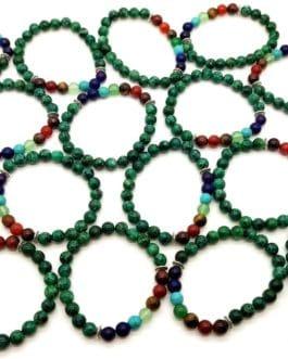 REF500 – BR. PIERRE perles 8mm – 7 CHAKRAS et CHRYSOCOLLE