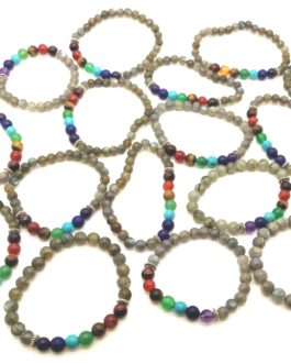 REF500 – BR. PIERRE perles 8mm – 7 CHAKRAS et LABRADORITE
