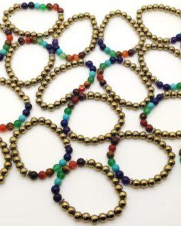 REF500 – BR. PIERRE perles 8mm – 7 CHAKRAS et PYRITE DOREE