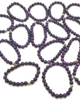 REF501 – BR. PIERRE perles 8mm avec 1 perle métal CHAROÏTE
