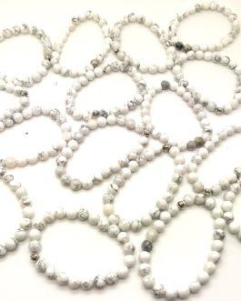 REF501 – BR. PIERRE perles 8mm avec 1 perle métal HOWLITE BLANCHE