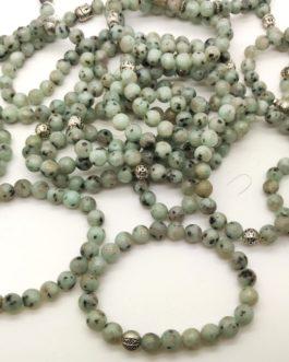 REF501 – BR. PIERRE perles 8mm avec 1 perle métal JASPE KIWI