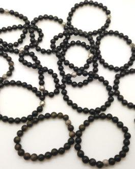 REF501 – BR. PIERRE perles 8mm avec 1 perle métal OBSIDIENNE DOREE