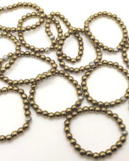 REF501 – BR. PIERRE perles 8mm avec 1 perle métal PYRITE DOREE