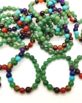 REF500A – BR. PIERRE perles 10mm – 7 CHAKRAS et AVENTURINE VERTE