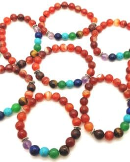 REF500A – BR. PIERRE perles 10mm – 7 CHAKRAS et CORNALINE