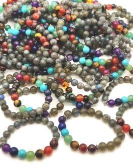 REF500A – BR. PIERRE perles 10mm – 7 CHAKRAS et LABRADORITE