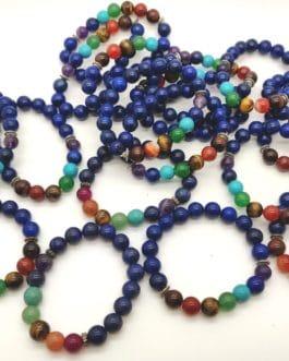 REF500A – BR. PIERRE perles 10mm – 7 CHAKRAS et LAPIS LAZULI