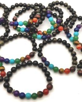 REF500A – BR. PIERRE perles 10mm – 7 CHAKRAS et OBSIDIENNE DOREE