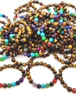 REF500A – BR. PIERRE perles 10mm – 7 CHAKRAS et OEIL DE TIGRE