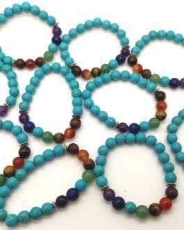 REF500A – BR. PIERRE perles 10mm – 7 CHAKRAS et TURKENITE