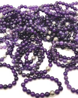 REF501A – BR. PIERRE perles 10mm avec 1 perle métal AMETHYSTE
