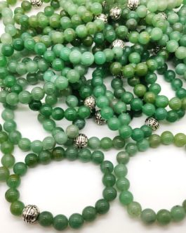REF501A – BR. PIERRE perles 10mm avec 1 perle métal AVENTURINE VERTE