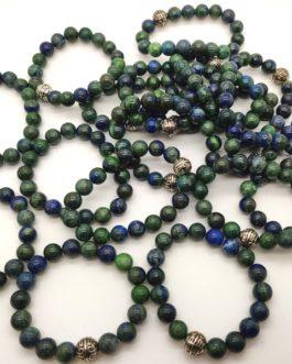 REF501A – BR. PIERRE perles 10mm avec 1 perle métal AZURITE