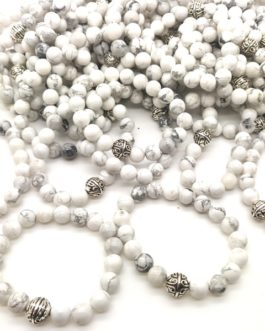 REF501A – BR. PIERRE perles 10mm avec 1 perle métal HOWLITE BLANCHE