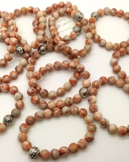 REF501A – BR. PIERRE perles 10mm avec 1 perle métal JASPE PICASSO