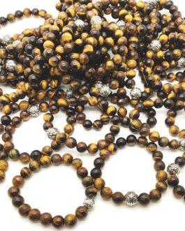 REF501A – BR. PIERRE perles 10mm avec 1 perle métal OEIL DE TIGRE
