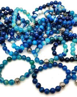 REF501A – BR. PIERRE perles 10mm avec 1 perle métal ONYX BLEU