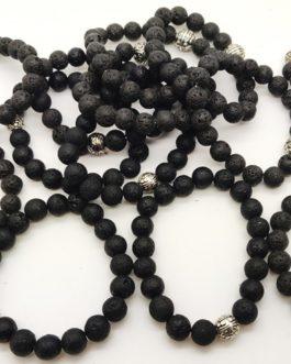 REF501A – BR. PIERRE perles 10mm avec 1 perle métal PIERRE DE LAVE