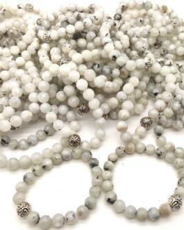 REF501A – BR. PIERRE perles 10mm avec 1 perle métal PIERRE DE LUNE