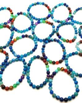 REF500 – BR. PIERRE perles 8mm – 7 CHAKRAS et ONYX BLEU