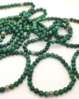 REF502 – BR. PIERRE HOMMES perles 8mm – 1 Perle Métal et CHRYSOCOLLE