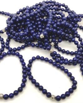 REF502 – BR. PIERRE HOMMES perles 8mm – 1 Perle Métal et LAPIS LAZULI